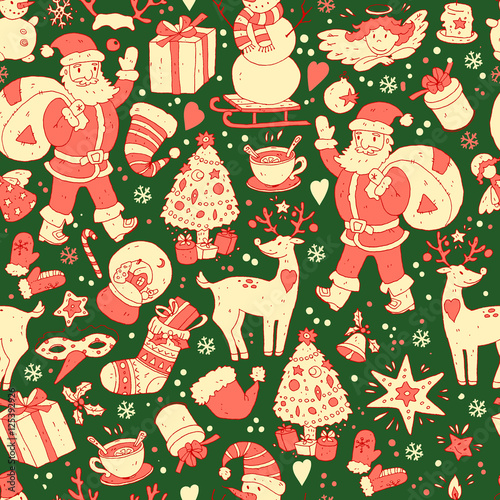 Cotton fabric Merry Christmas seamless pattern, Happy New Year background, wra