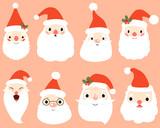 Cartoon Santa Claus heads, faces - Christmas vector illustration