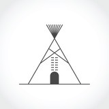 American indian tipi icon. Vector illustration - 125398532