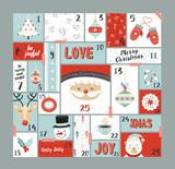 Christmas advent calendar cute decoration elements