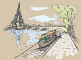 Vector illustration of Eiffel Tower in Watercolor style, Waterco