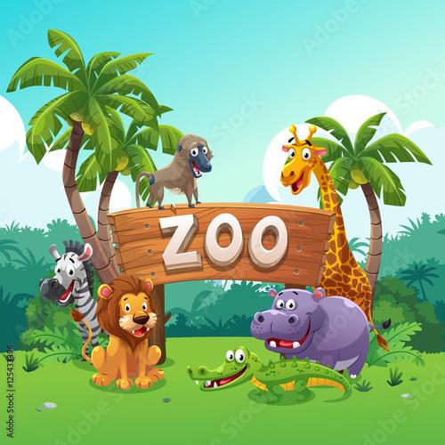 mata magnetyczna Zoo and animals cartoon style