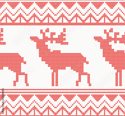 Cotton fabric Knitted Deer Seamless Pattern in Red Color.