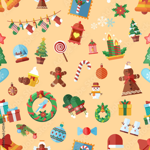 Materiał do szycia Vector seamless pattern with Christmas accessories