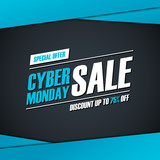 Cyber Monday Sale. Special offer banner, discount up to 75% off. Banner for business, promotion and advertising. Vector illustration.