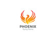 Phoenix Logo flying bird design vector. Eagle falcon icon