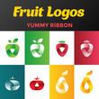 Fresh fruits Logos design vector. Juice drink Logotype icon - 125456170