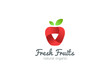 Apple Logo ribbon vector. Fresh fruit idea juice drink icon - 125456173