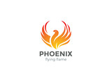 Phoenix Logo flying bird design vector. Eagle falcon icon