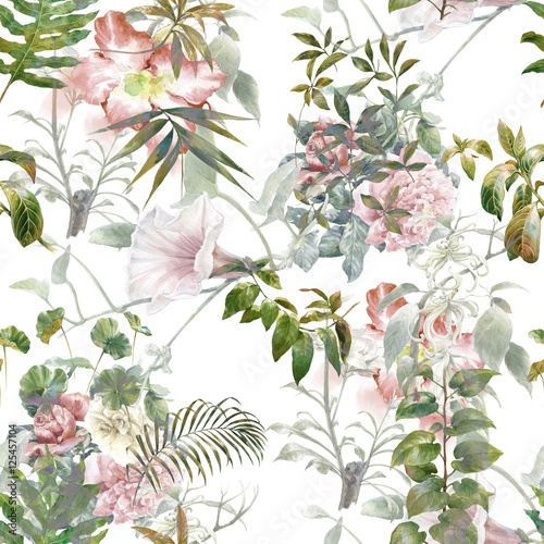 Watercolor painting of leaf and flowers, seamless pattern on white background - 125457104