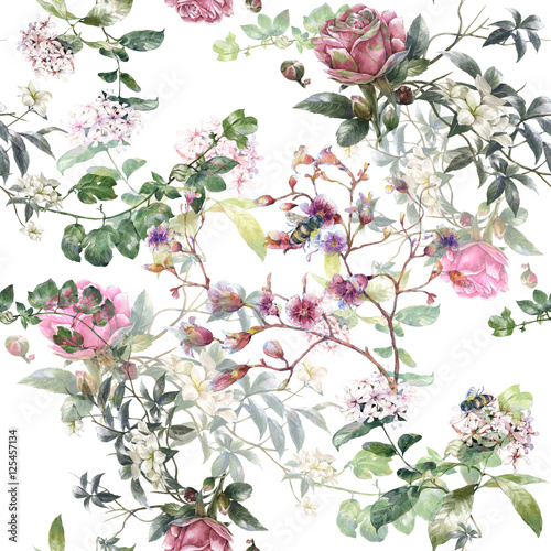 Watercolor painting of leaf and flowers, seamless pattern on white background - 125457134