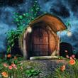 Magiczna chatka w pniu drzewa z lampionami nocą