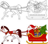 Horse driven Christmas sleigh with Santa. The coloring and color image