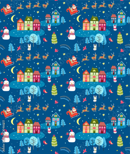Materiał do szycia Christmas seamless pattern with Santa and festive town