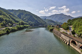 Italian landscape with big river in summer
