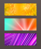 Set Horizontal banner design element background glow abstract sh