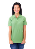 Woman in green polo shirt