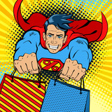 Fototapety Pop art superhero. Young handsome happy man in a superhero costume with a percent sign on the chest flies with shopping bags. Vector illustration in retro pop art comic style.