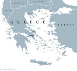 Greece political map with capital Athens, with most important peninsulas and islands, with national borders and neighbor countries. Gray colored illustration with English labeling over white. - 125488100