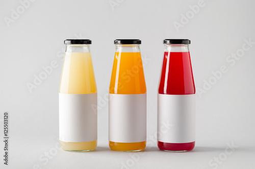 Juice Bottle Mock-Up - Three Bottles. Horizontal Label