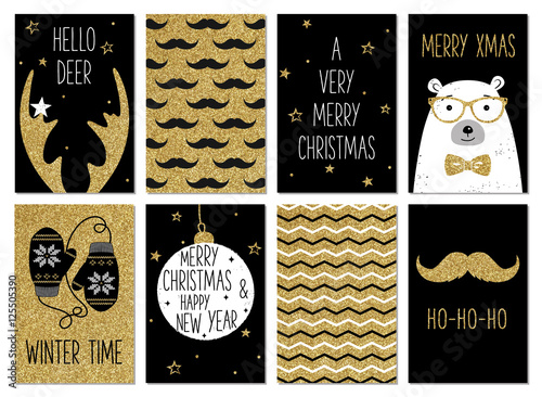 Fotobehang Hipster Hert Christmas hipster greeting card templates. Gold glitter, black and white colors. Christmas and New Year gift tags. Golden deer antlers, mustache, polar bear, mittens, chevron. Holiday hipster style.