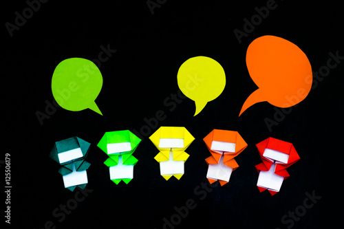 Poster The Handmade Origami Balloons with Ninja Kids on the Black Backg
