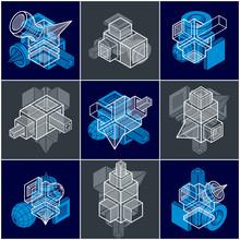 Résumé des vecteurs définis, isométrique collection de formes tridimensionnelles.