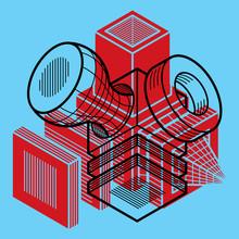 conception 3D, abstraite forme de cube dimensionnel de vecteur.
