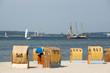 canvas print picture - Segelschiff vor der Küste von Laboe, Kieler Förde, Schleswig-Holstein