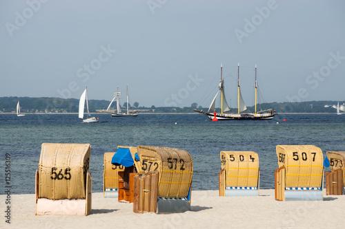 canvas print picture Segelschiff vor der Küste von Laboe, Kieler Förde, Schleswig-Holstein