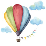Watercolor hot air balloon set. Hand drawn vintage air balloons with flags garlands, clouds and retro design. Illustrations isolated on white background - 125525144