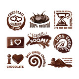 Fototapety Set vector chocolate logos and labels.