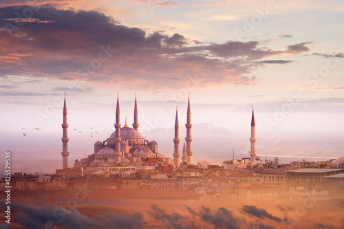 Blue Mosque and beautiful sunset in Istanbul, Turkey Poster