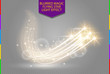 Abstract vector magic glow star light effect with neon blur curved lines. Sparkling dust star trail with bokeh. Special white and golden christmas effect on transparent background