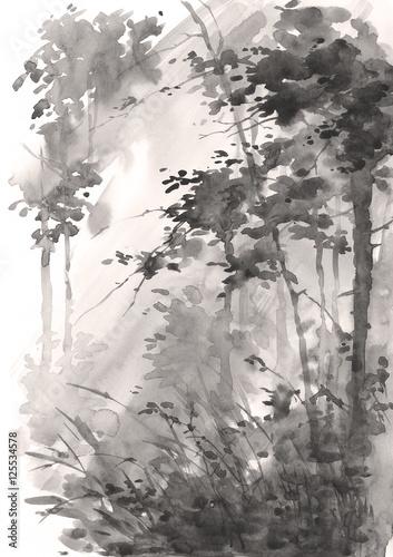 akwarela-abstrakcyjny-krajobraz-las-w-sloncu