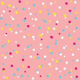 Fototapety Donut glaze seamless pattern. Cream texture with sprinkle topping of colorful beads on pink background. Food bakery decoration. Vector eps8 illustration.