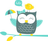 cute happy owl and singing canary on branch isolated on white background