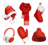 Fototapety Winter clothes. Knitted hat. Christmas sock. Scarf. Mitten. Earmuffs. 3d vector icon