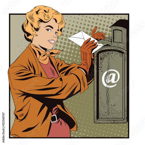 Foto op Plexiglas Draken People in retro style. Girl puts letter into mailbox.