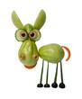Funny donkey made of green tomato on white background