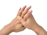 Finger knuckle cracking on the white background, addicted, addic