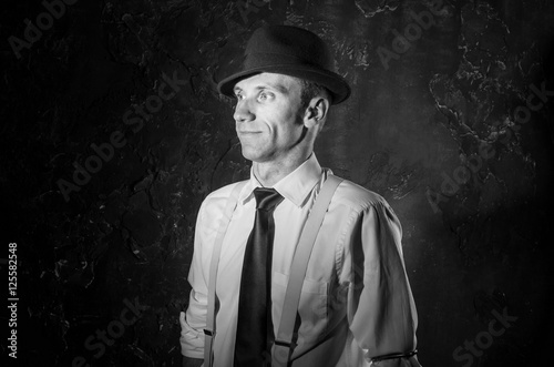 Black and white picture of handsome private detective