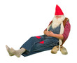 Garden gnome with hole in his socks