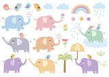 Vector set of cute isolated elephants