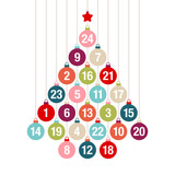Fototapety Tree Advent Calendar Hanging Christmas Balls Color