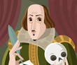 shakespeare with a skull writing