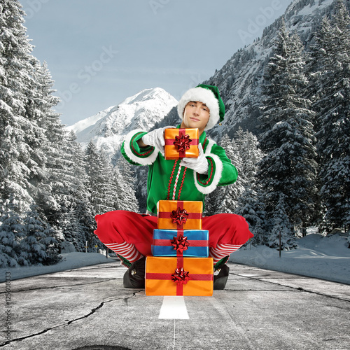 Poster elf and winter road
