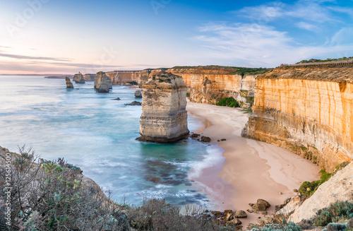 Poster Oceanië Twelve Apostles at sunrise, amazing natural landscape of Great O