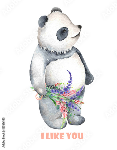 Template of postcard with watercolor illustration panda and bouquet of flowers, hand drawn isolated on a white background - 125616140