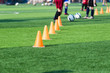 blurred image of Coach is coaching Children Training In Soccer T